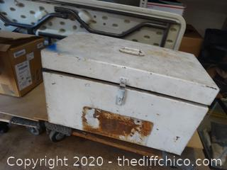 White Metal Box With Contents