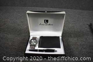 Louis Cardini Set-watch, wallet and pen