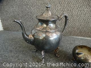 Silver Over Copper Tea Pot With Creamer Bowl