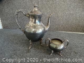 Silver Over Copper Tea Pot With Sugar Bowl