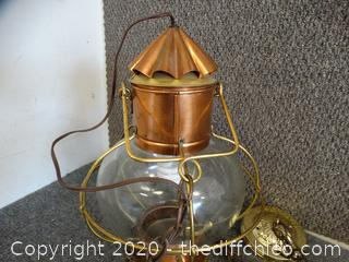 Brass & Copper Glass Hanging Lamp