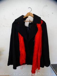 Black Pea Coat With Red Scarf  xl