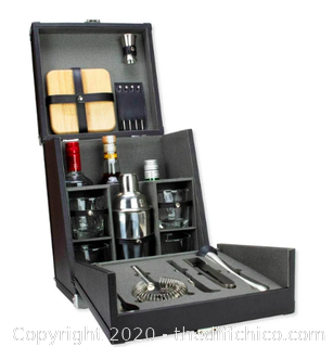 Atterstone Premium 17-Piece Portable Barware Set with Travel Cocktail Bar Box (J2)