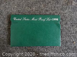 United States Mint Proof Set With COA 1998