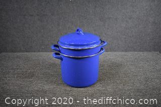 Blue Granite Pot, Steamer w/Lid