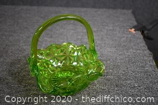 Green Glass Basket