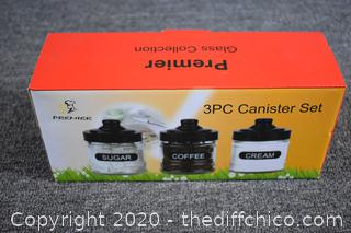 NIB 3  Piece Canister Set