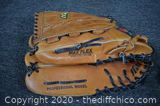 2 Right Handed Baseball Gloves