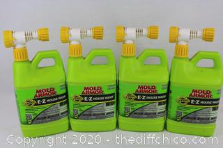 LOT OF (4) Deck Fence House Wash Home Armor FG512 E-Z 56 Oz Mold Stain Remover