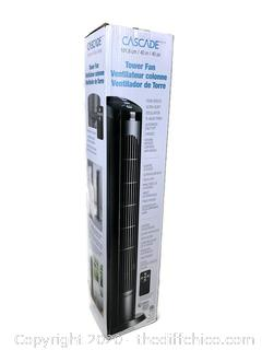 """NEW Cascade 40"""" Four Speed Oscillating Ultra Quiet Tower Fan With Remote"""