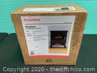 Stylewell Kingham 1,000 sq. ft. Panoramic Infrared Electric Stove in Black with Electronic Thermostat (J26)