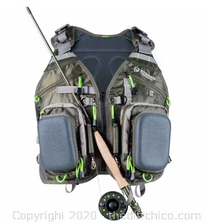 Elkton Outdoors Fly Fishing Vest Backpack With Wading Pack (J114)