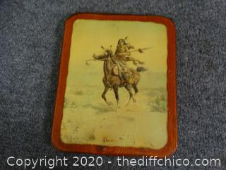 Indian Pic On Wood Backing