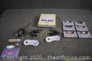 Super Nintendo Unit, Controllers and Games