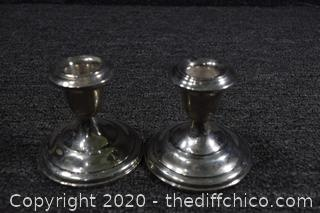 2 Weighted Sterling Silver Candle Holders