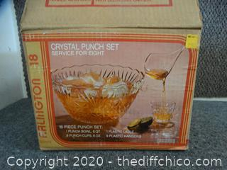 Crystal Punch Bowl with cups