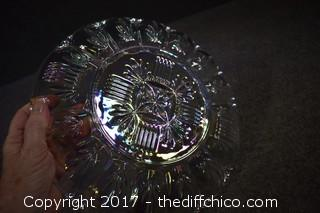 Opalescent Carnival Glass Egg Dish