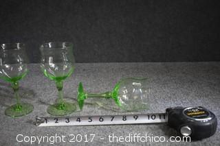 3 Vintage Green Depression Glasses