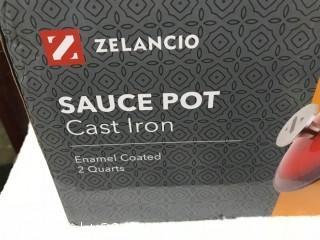 Zelancio Cast Iron 2 Quart Sauce Pot - Red