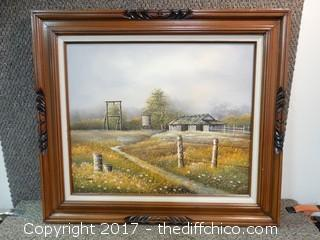 Original Oil On Canvas Farm Picture