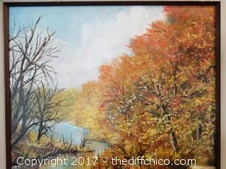 "Original Signed Oil On Canvas Forest Picture W-25"" T-31"""