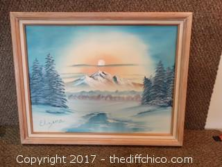 "Original Signed Oil On Canvas Mountain Picture W-26 3/4"" T-21"""