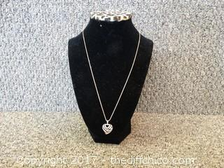 Pave Aloha Heart Pendent With Diamonds 14k Pendent 14k Necklace 83 Faceted Diamonds ( Pendent Has a shadow that spells Aloha)