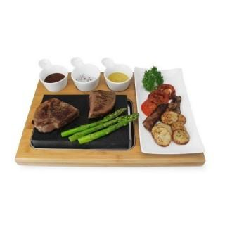 Zelancio Lava Stone Cooking Stone Set and Bamboo Tray