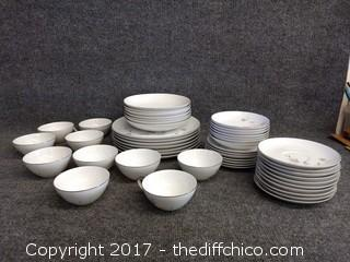 Mikasa Fine China Jyoto Rosina #8296 Dishes - 48 Pieces - No Chips or Cracks