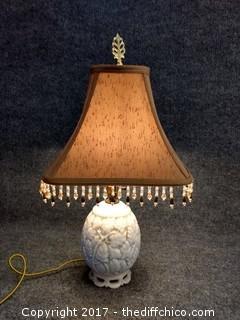 "Milk Glass Lamp - 23"" - Working - Vintage"