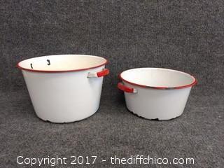 "Enamel Ware Pots - 10"" x 6.5"" and 9.5"" x 4.5"""