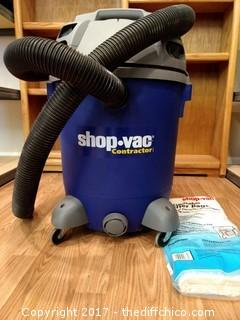 Contractor Shop Vac with Disposable Filter Bags - Working