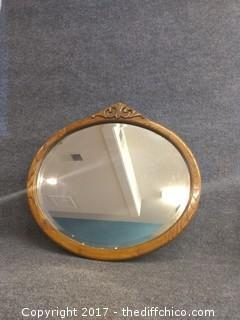 """Oak Framed Beveled Mirror - Vintage - 31"""""""