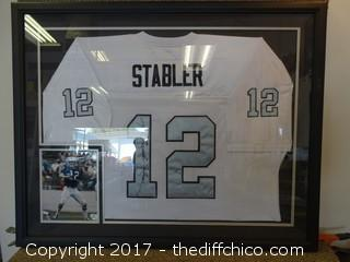 #12 Ken Stabler Autographed Raiders Jersey in a Frame  40x32