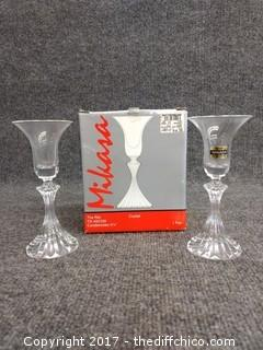 "Crystal Mikasa Candle Holders - 6.75"" Tall - Made in Germany"