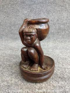 "Hand Carved Tribal Statue Candle Holder - 6.5"" Tall"