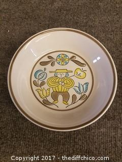 "Ferrostone China by Sango - Picnic 1001 - Made in Japan - 6.5"" Diameter - 1.5"" Deep"