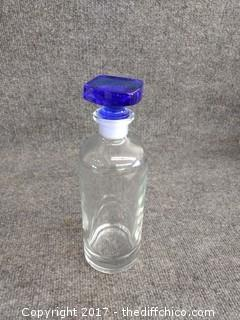 "Apothecary Bottle with Cobalt Blue Glass Stopper - Vintage - Clear Glass Quart - 10"" Tall"
