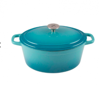ZELANCIO 6 QUART ENAMEL OVAL DUTCH OVEN - TEAL (#0021)