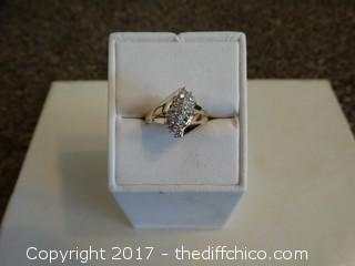Size 7 10K Gold Ring (Commercial Grade Diamonds)