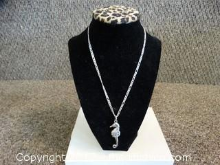Silver Chain With Sea Horse Charm