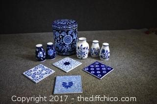 11 Pieces of Cobalt Blue-Storage Container, Salt & Pepper Shakers, Tiles & More