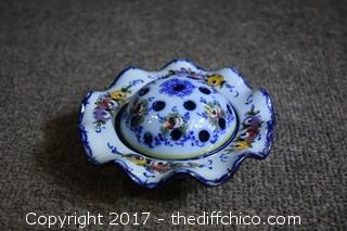 Vintage Hand Painted Flower Frog & Dish from Portugal