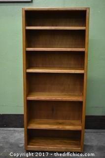 Rolling Oak Bookcase w/Adjustable Shelves