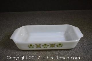 Vintage Fire King Casserole Dish Meadow Pattern