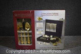 NIB 71 Pieces 24k Gold Plated Flatware