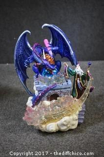 NIB Musical Lighted Merlin & Dragon Sculpture w/Box
