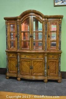 Awesome 2 Piece Lighted Hutch w/Glass Shelves & Beveled Glass Doors
