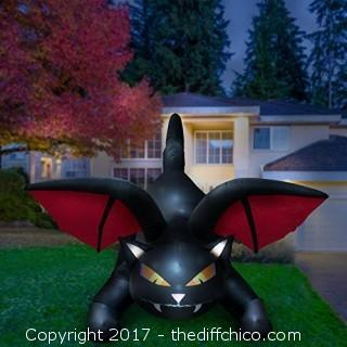 Holidayana Airblown Inflatable Giant 8 Ft Spooky Cat With Wings And Lighted Int