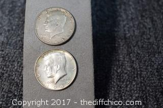 2 1964 Kennedy Proof 90% Silver Half Dollars